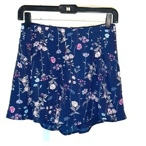 LUSH NAVY-PINK FLORAL LINED SHORTS